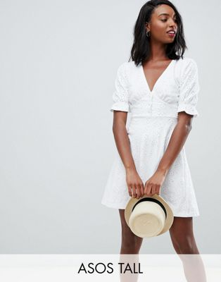 ASOS DESIGN Tall broderie button through tea dress