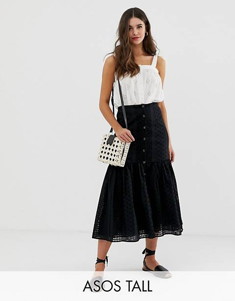 ASOS DESIGN Tall broderie midi skirt with dropped waist