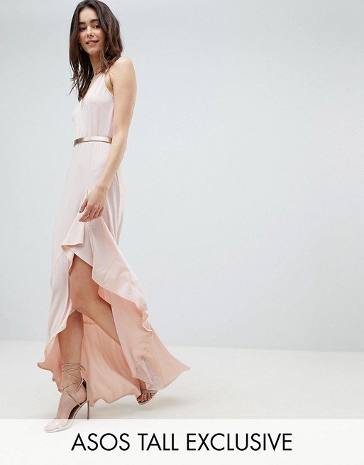 ASOS DESIGN Tall cami maxi dress with ruffle side split and gold belt
