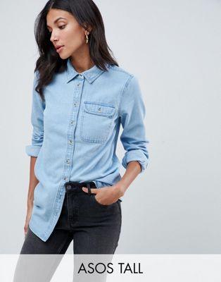 ASOS DESIGN Tall - Camicia di jeans lavaggio blu medio con tasca