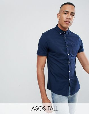 ASOS DESIGN Tall casual stretch regular fit oxford shirt in navy