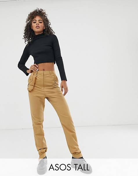 ASOS DESIGN Tall chain detail slim pants