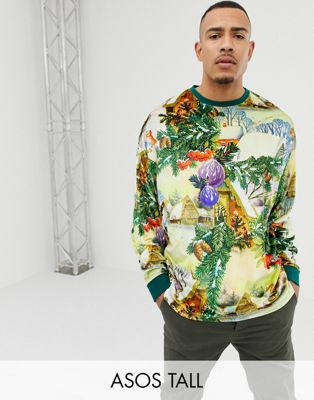 ASOS DESIGN Tall Christmas oversized long sleeve t-shirt with all over festive print