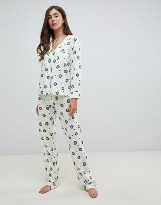 ASOS DESIGN Tall christmas sprout traditional shirt and PANTS pyjama set in 100% modal