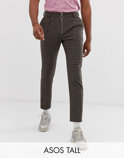 ASOS DESIGN Tall cigarette suit pants in green and pink houndstooth