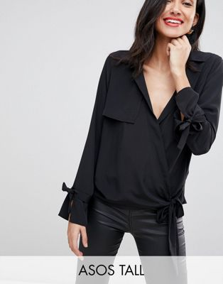 ASOS DESIGN Tall Clean Utility Wrap Top