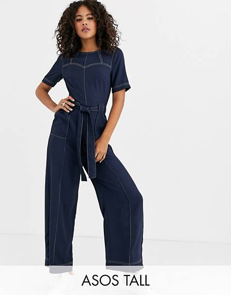 ASOS DESIGN Tall contrast stitch jumpsuit with sweetheart stitch