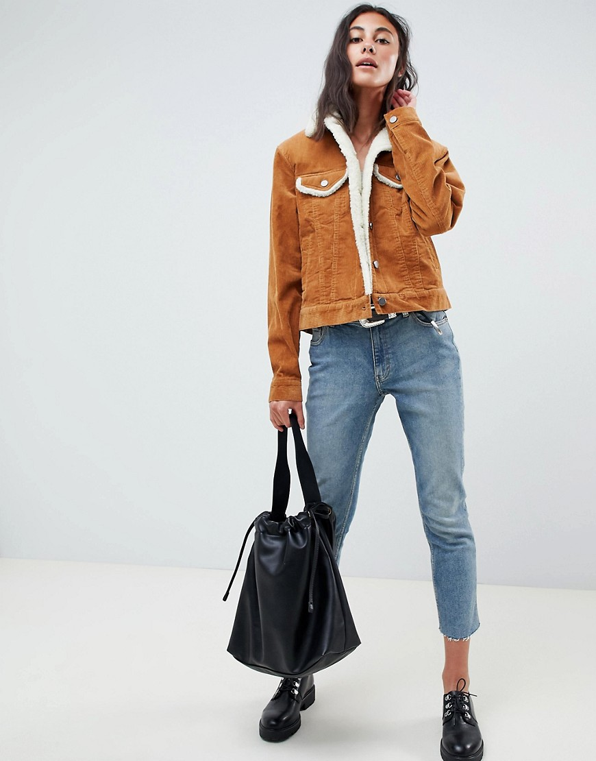 Asos Design Tall Cord Jacket With Fleece Collar In Rust by Asos Design