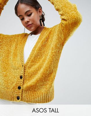 Image 1 of ASOS DESIGN Tall Cropped Cardigan In Chenille With Buttons