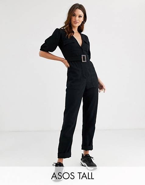 ASOS DESIGN Tall denim belted jumpsuit with banana leg