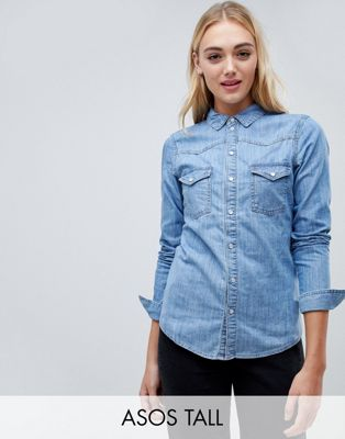 ASOS DESIGN Tall denim fitted western shirt in midwash blue