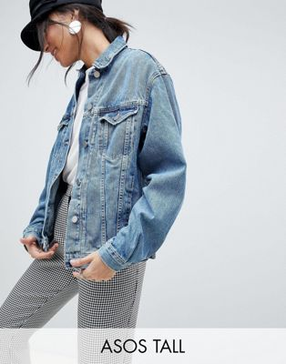 ASOS DESIGN Tall denim girlfriend jacket in midwash blue