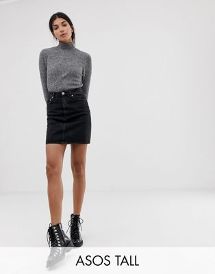 ASOS DESIGN Tall denim original high waisted skirt in washed black