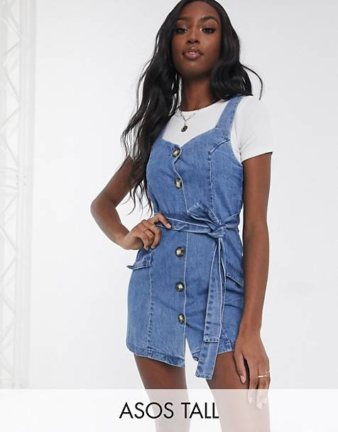 ASOS DESIGN - Tall - Denim overgooier in blauw