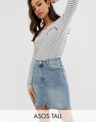 ASOS DESIGN Tall denim pelmet skirt in lightwash blue