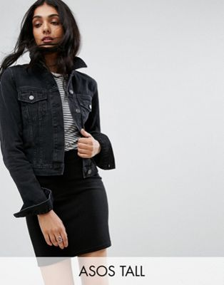 ASOS DESIGN Tall denim shrunken jacket in washed black