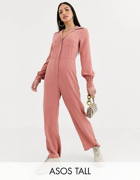 ASOS DESIGN Tall denim soft drape jumpsuit with longsleeve in terracotta