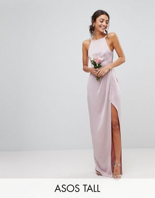 Image 1 of ASOS DESIGN Tall drape front strappy back maxi dress