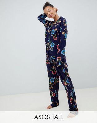 ASOS DESIGN Tall Ensemble pyjama traditionnel avec pantalon 100% modal à motif floral abstrait - Bleu marine