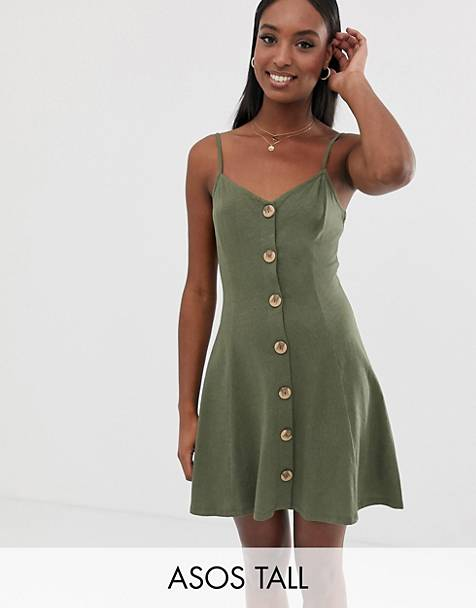 573070512c ASOS DESIGN Tall exclusive mini slubby cami swing dress with faux wood  buttons