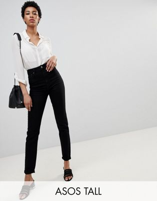 ASOS DESIGN Tall Farleigh high waist slim jeans in clean black