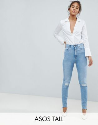 ASOS DESIGN Tall Farleigh high waist slim mom jeans in light vintage wash with busted knee and rip & repair