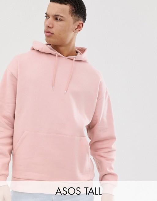 Immagine 1 di ASOS DESIGN Tall - Felpa oversize rosa chiaro con cappuccio