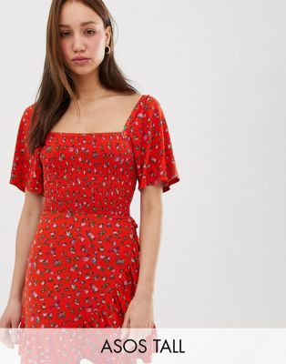 ASOS DESIGN Tall floral printed shirred sundress with ruffle
