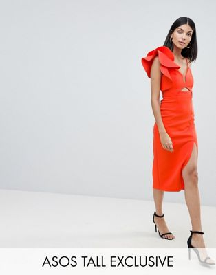 ASOS DESIGN Tall frill one shoulder scuba bodycon dress with midriff