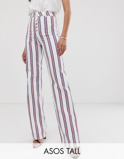 ASOS DESIGN Tall full length flare jeans in stripe with exposed fly detail
