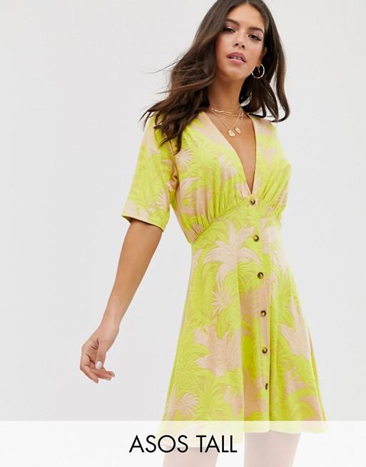ASOS DESIGN Tall – Geknöpftes Mini-Freizeitkleid aus Jacquard