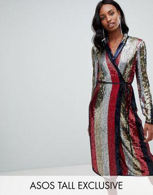 ASOS DESIGN - Tall - Gestreepte midi-jurk met overslag