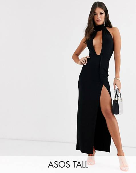 ASOS DESIGN Tall going out deep plunge maxi dress