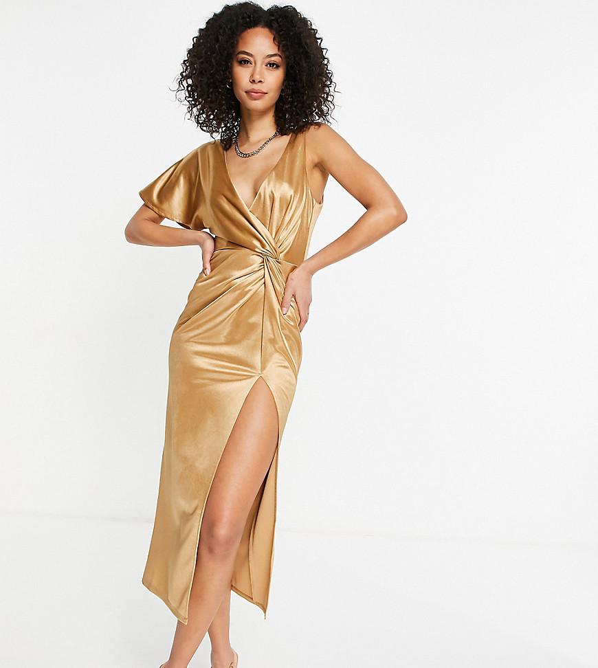 ASOS DESIGN Tall - Guldfarvet oneshoulder-midikjole med snoning og høj slids