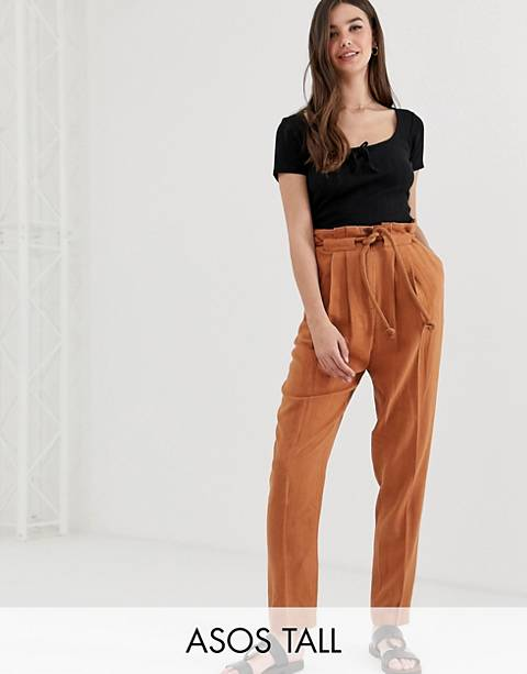 ASOS DESIGN Tall gutsy linen tapered pants with rope belt
