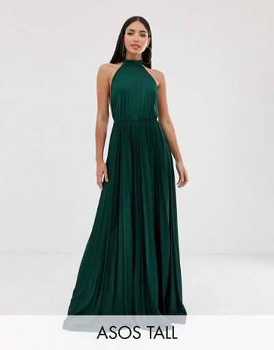 ASOS DESIGN Tall Halter Pleated Waisted Maxi Dress