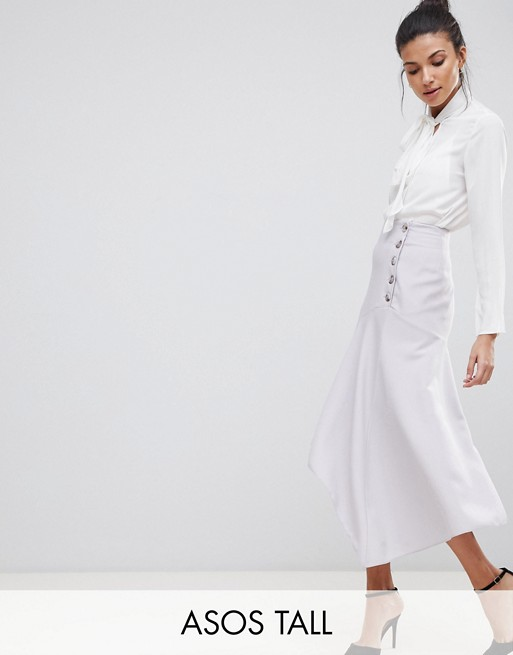 Image 1 of ASOS DESIGN Tall hanky hem midi skirt with side button detail