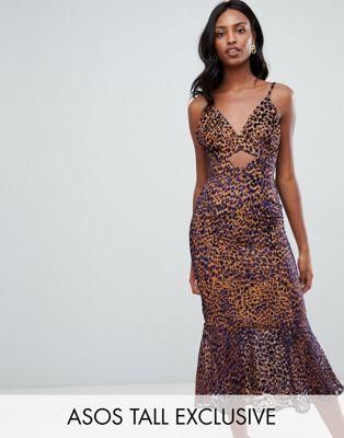 ASOS DESIGN Tall - Jacquard midi-jurk met peplum, uitsnijding en dierenprint