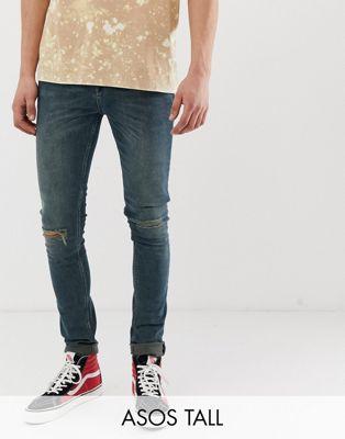 Immagine 1 di ASOS DESIGN Tall - Jeans super skinny verde patinato con strappi al ginocchio