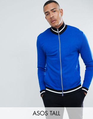 ASOS DESIGN tall jersey track jacket in bright blue with contrast tipping