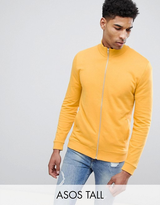 Image 1 of ASOS DESIGN Tall jersey track jacket in yellow