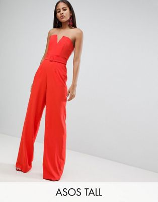 ASOS DESIGN Tall Jumpsuit With Structured Bodice And Wide Leg