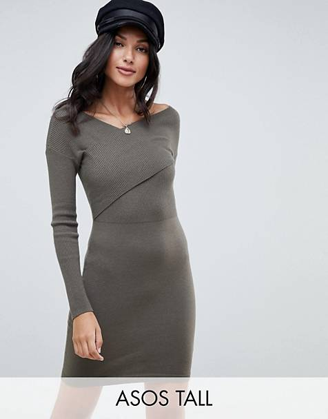 ASOS DESIGN Tall knitted dress with wrap front