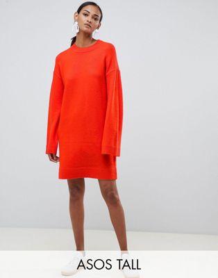 ASOS DESIGN Tall Knitted Mini Dress In Fluffy Yarn