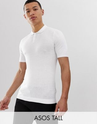 ASOS DESIGN Tall Knitted Muscle Fit Polo In White