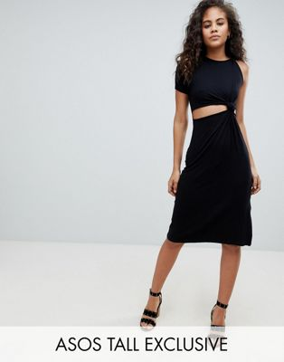 ASOS DESIGN Tall knot detail midi dress with cut out side in rib