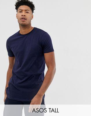 ASOS DESIGN - Tall - Lang T-shirt met ronde hals in marineblauw