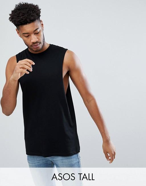 Bild 1 von ASOS DESIGN Tall – Legeres, ärmelloses T-Shirt mit tiefen Armausschnitten in Schwarz