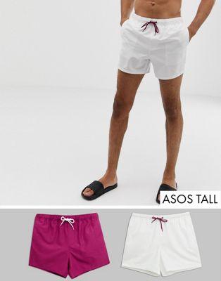 ASOS DESIGN Tall – Lila och vita badshorts i kort modell SPARA