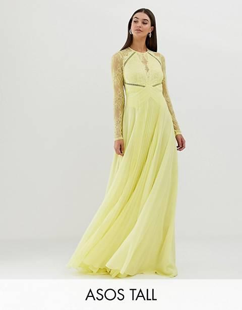 ASOS DESIGN Tall long sleeve lace paneled pleat maxi dress
